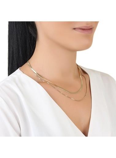 Welch Steel Gold Çift Zincirli Kadın Çelik Kolye Renkli